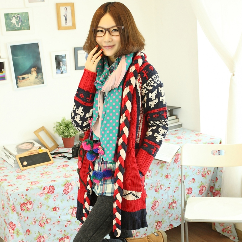 Autumn and winter thickening vintage twisted cardigan female medium-long sweater outerwear(China (Mainland))