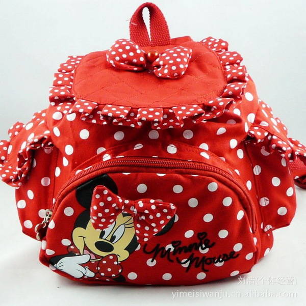 Free shipping!! Baby girls cute bags,minnie backpacks,baby girls kindergarten bag,3pcs/lot Red/Hot pink(China (Mainland))