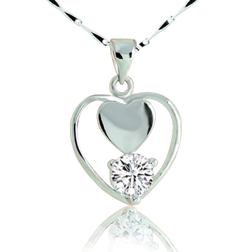 Heart zircon diamond pendant necklace sparkling 3a zirconium diamond necklace zirconium diamond necklace pendant(China (Mainland))
