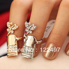Min.order $10(can mix order) Free Shipping !Butterfly Animal Rhinestone Nail Ring Jewelry for Sale Fake Finger Shape with Silver(China (Mainland))