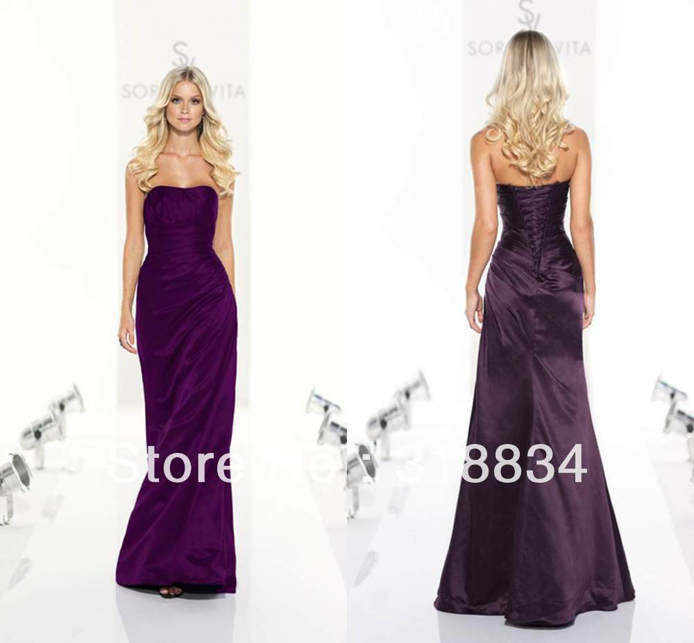 Purple Fashion Modest 2013 A-line Sweetheart Pleat Taffeta Floor length Formal Evening Desses Prom Dress Gown Gowns Custom made(China (Mainland))