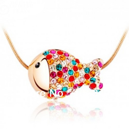 Free shipping TA Fashion Vintage Alloy Austria Rhinestone Clown Fish Pendant Necklace Trinket Women/Girl Gift(China (Mainland))