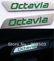 free shipping! skoda Octavia Special stainless steel handle label/patch color seat lift wrench decorative sticker 2pcs/set