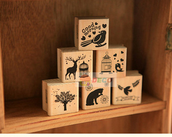 New vintage animal series DIY Multifunction wood stamp,gift stamps, 6 Designs, Wooden stamp(ss-6007)