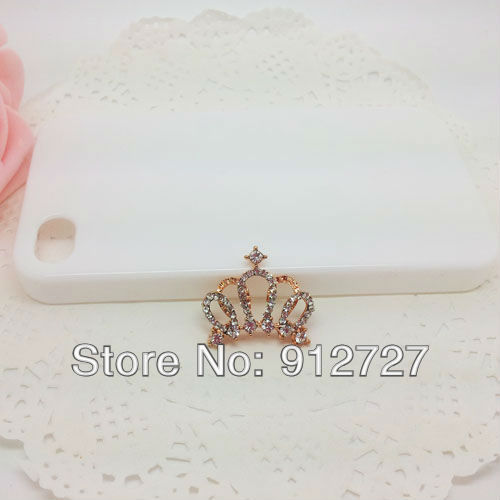 Free shipping 6pcs/lot New Diamond Crown Golden Mobile Phone Accessories DIY Phone Jewelry Decoration cell phone Makeup Cheap(China (Mainland))