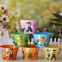 Home decoration storage compartment metal tub flower flower pot gustless iron cartoon colored drawing decoration