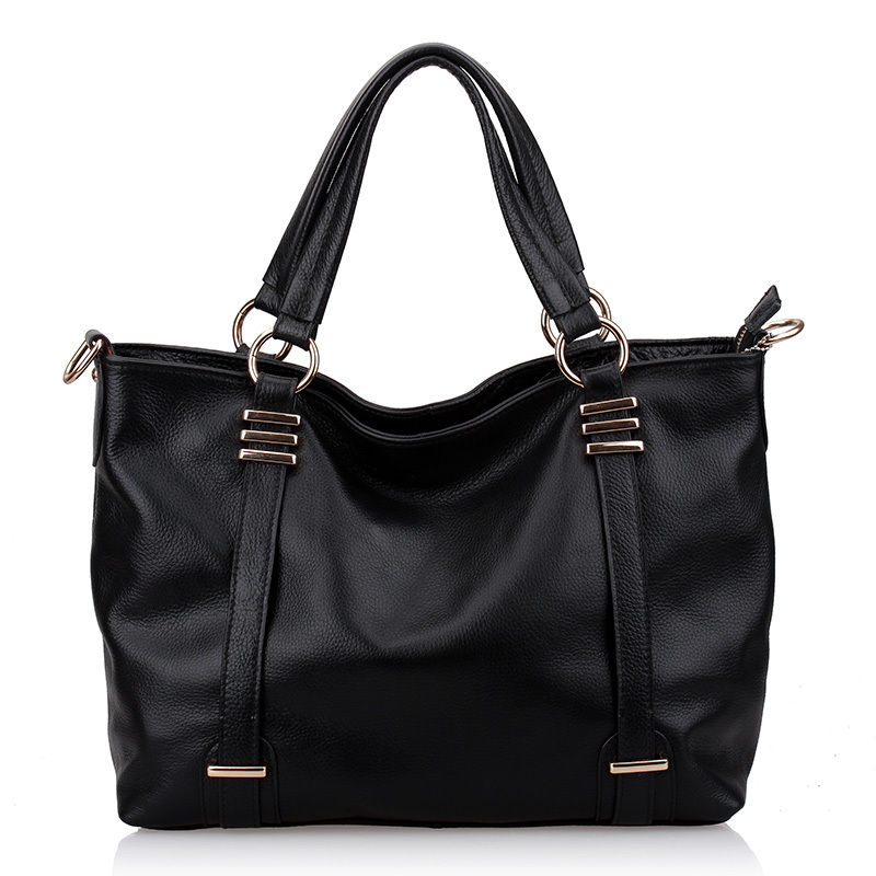 2012 first layer of cowhide big bags khaki black beige handbag one shoulder cross-body women's handbag(China (Mainland))
