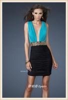 2013 spaghetti strap V-neck satin short evening dress