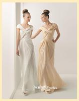 Quality sweet elegant bag pleated formal dress long evening dress
