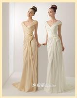 Quality elegant pleated double-shoulder formal dress bag performance evening dress formal dress evening dress