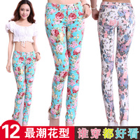 Free shipping 962b# lady fashion flower print pants,fancy elastic pencil pants,high quality plus size trousers,100% real picture