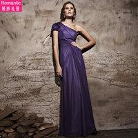 28122 Deep one shoulder purple evening dress formal dress costume fashion bridal wedding dress bridesmaid evening dress full