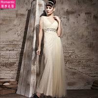 18151 noble elegant brief lace short-sleeve deep slit neckline V-neck married bridesmaid bride dress evening dress