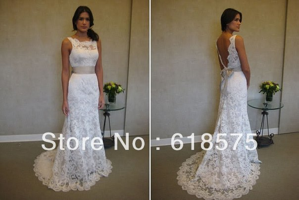 Classic Bateau Neck Backless Lace Appliques Champagne Sash White 2012 Wedding Dress(China (Mainland))