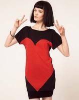 Cute Personality Top Tee Summer T Shirt Woman Black Printed Red Big Loving Heart Long Plus Size Women T Shirt 2013