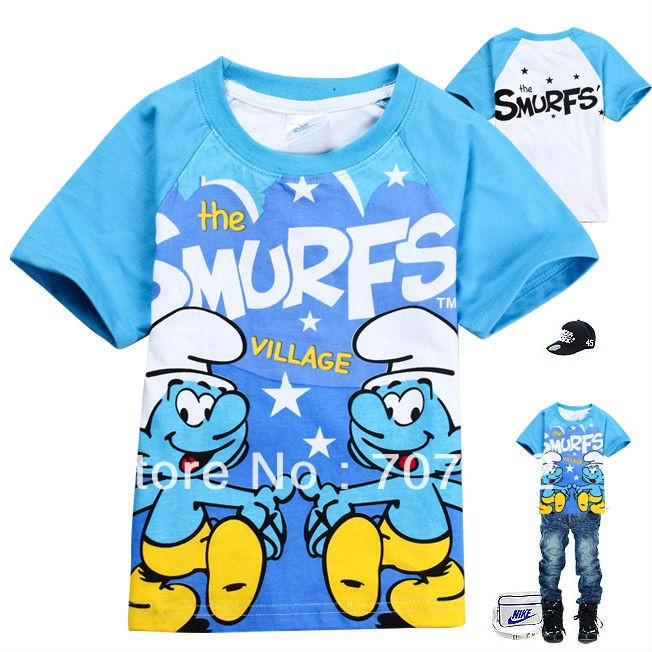Free shipping +Hot sales 6pcs/lots wholesales Smurfs Children T-shirt , children's garments girl boys short-sleeved T shirt(China (Mainland))