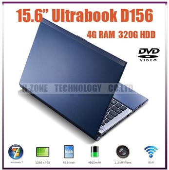 Freeshipping  2013 Hot selling 15.6 inch Ultrabook laptop Notebook 4GB RAM 320GB HDD D2500 Dual 1.86Ghz WIFI DVD-RW WIN 7 Webcam