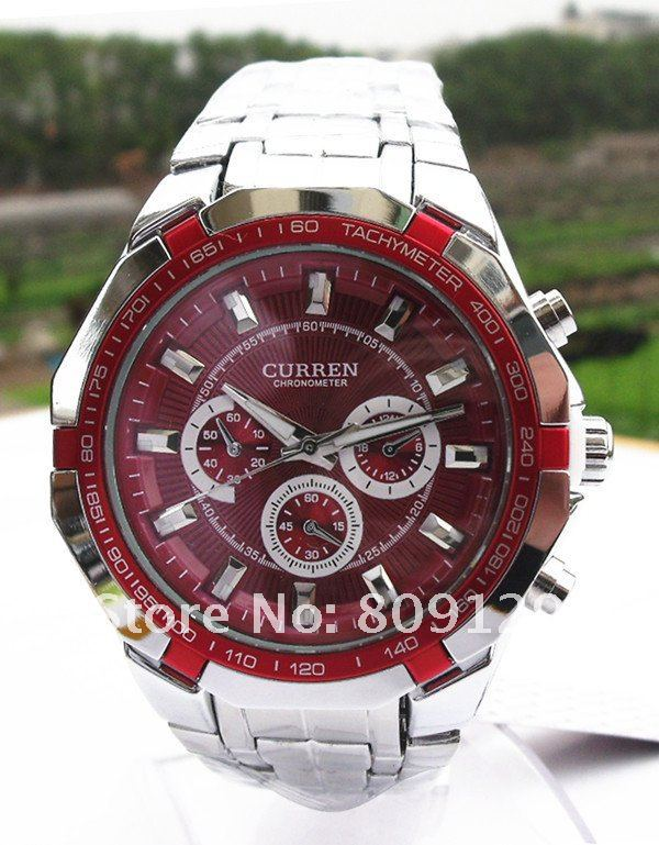 1Pcs CURREN 8084 Round Dial Steel Band Men's Wrist Watch (red) wristwatch, free shipping,promotion(China (Mainland))