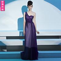 38106 noble elegant fashion one shoulder formal dress the bride dress heart-shaped collar slim long design evening dress