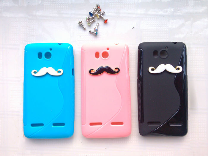 HK Post Free shipping TPU Soft Case Cover for Huawei Honor Ascend G600 U8950D Honor2 U9508 White Black Beard Style(China (Mainland))