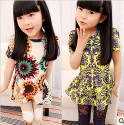 2013 5pcs/lot girls fashion debutantes style flower printed princess dress children one piece luau dress(China (Mainland))