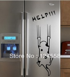 Free shipping Wall stickers cartoon child real refrigerator kitchen cabinet wall stickers tile furniture glass stickers help dog(China (Mainland))