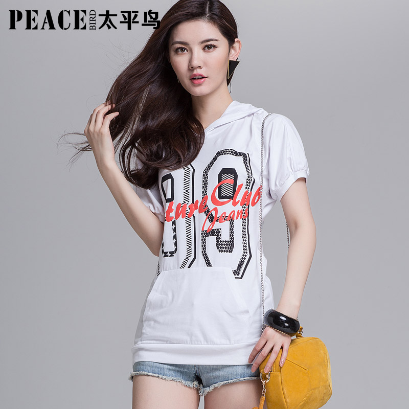 200 70 PEACEBIRD women's loose cap sweatshirt short-sleeve slim hooded letter print(China (Mainland))