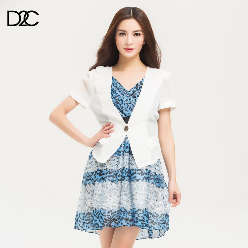 D2 c V-neck one button flower elegant short-sleeve outerwear q00132070142(China (Mainland))