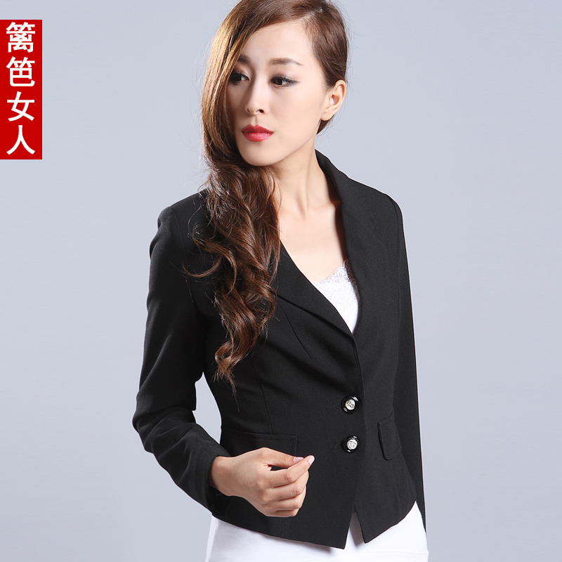 Fence 2013 spring small suit jacket female short design thin suit slim suit(China (Mainland))