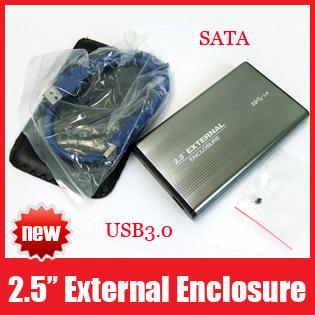 "Portable USB 3.0 2.5"" HDD Cover Case Hard Drive SATA External Enclosure Box USB3.0 Free Shipping"