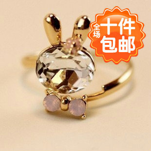 0746 Korean jewelry cute Meng Meng crystal rabbit bow opening ring ring Yiwu wholesale(China (Mainland))