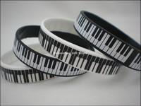 Printed Piano Keys Bracelet, Music Keyboard Silicon Wristband, White & Black, Adult, 100pcs/Lot, Free Shipping
