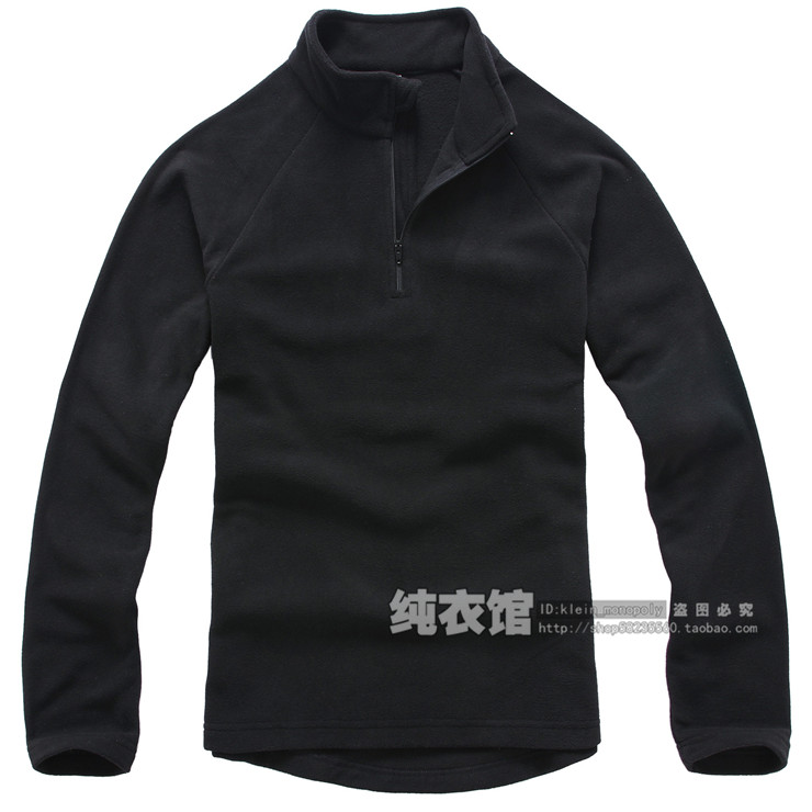 Ultra-light thermal polar fleece fabric male sweatshirt solid color outdoor jacket liner fleece black(China (Mainland))