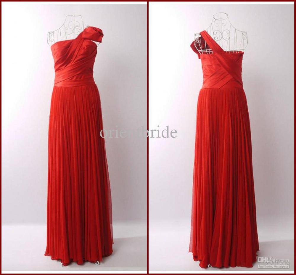 Custom One Shoulder Draped A-line Pleated Red Long Prom Dresses Party Dress Evening Gowns(China (Mainland))