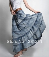 Hot selling,high quality Korean long  Bohemia big pendulum washed denim skirt!