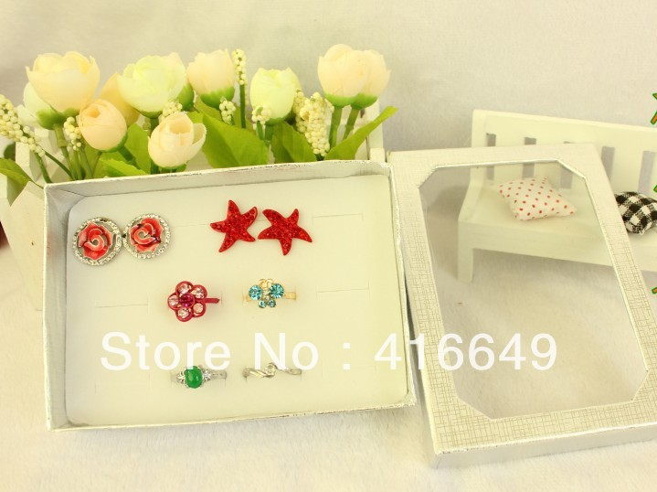 Free Shipping,Wholesale 10pcs/lot Black Jewelry Rings Display Show Case Organizer Tray Box 12 Slots Bar-6(China (Mainland))