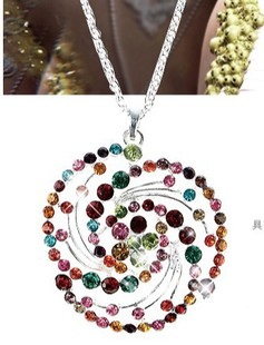 A-0341 accessories full rhinestone big flower female necklace(China (Mainland))