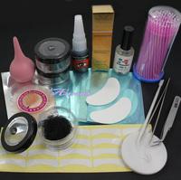 Free Shipping 3 Box False Individual Extension Eyelash Glue Remover Swab Tape Tweezer Tool Set