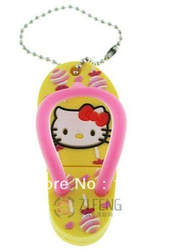 Fast ship 4gb 8gb 16gb 32gb rubber hello kitty slipper USB 2.0 flash drive memory pen disk(China (Mainland))