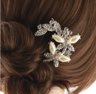 bride accessories pearl rhinestone insert comb hair maker bangs hair comb hair pin ,U comb butterfly paragraph(China (Mainland))
