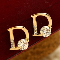 Wholesale price min order $10 free shipping letters D  star style plated 18k real gold  zircon earrings