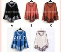 Women Batwing Sleeve Tassels Hem ElR8 Poncho Tops Knitting Sweater Coat Cloak    free shipping