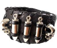 2013 trendy fashion handmade woven braided punk skull head bullet stud belt buckle wide unisex mens leather bracelets jewelry