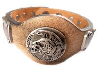 2013 trendy fashion handmade punk skull head stud belt buckle vintage wide brown mens leather bracelets for women jewelry bangle