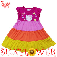 wholesale 2012 dress baby girls/kids branded new Hello Kitty flutter sleeve Summer dresses free shipping