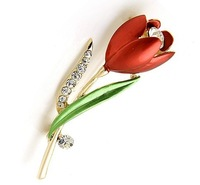 Decorative Crystal Brooch Pin Garment Accessories Jewelry Tulip Brooch
