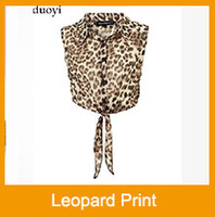2013 women chiffon Leopard print crop top t-shirts with Turn-down polo collar sleeveless crop clothes top short stlyle tees
