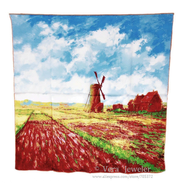 "100% Satin Charmeuse Silk Claude Monet's ""Tulip Field w. the Rijnsburg Windmill"" Square Scarf Shawl Hijab Wraps 10pcs Wholesale(China (Mainland))"