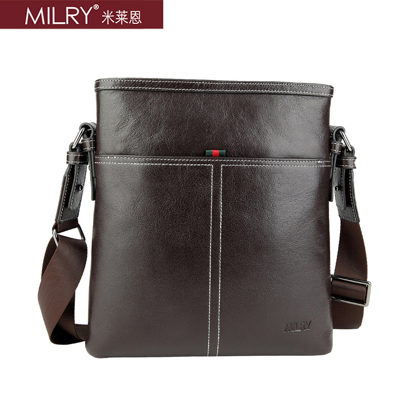 2013 new arrival Brand MILRY 100% Genuine Leather shoulder Messenger Bag for men fashion business bag cross body CS0010-2(China (Mainland))