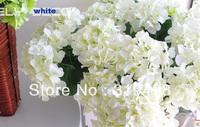 Free shipping(20 pcs/lot) White Single head Silk Artificial Hydrangea flower Scotland Hydrangea flower Wedding Bouquet Christmas